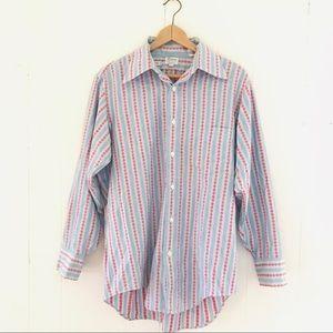 Vintage 70s Woven Folk Button Down Shirt